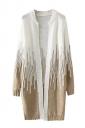 Womens Loose Beaded Color Block Long Sleeve Cardigan Sweater Khaki