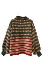 Womens Retro Striped Patterned Pullover Sweater Green
