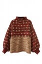 Womens Retro Striped Patterned Pullover Sweater Ruby