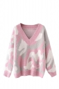 Womens V Neck Camouflage Patterned Pullover Sweater Pink