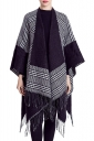 Womens Fringed Hem Plaid Color Block Shawl Scarf White