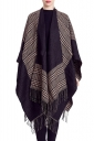 Womens Fringed Hem Plaid Color Block Shawl Scarf Khaki