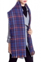 Womens Plaid Eyelash Fringe Warm Scarf Sapphire Blue