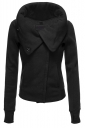 Womens Turndown Collar Zip Up Long Sleeve Bomber Jacket Black
