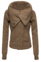 Womens Turndown Collar Zip Up Long Sleeve Bomber Jacket Coffee