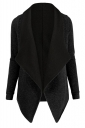 Womens Turndown Collar Long Sleeve Asymmetric Cardigan Coat Black