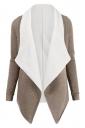 Womens Turndown Collar Long Sleeve Asymmetric Cardigan Coat Khaki