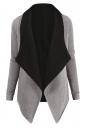 Womens Turndown Collar Long Sleeve Asymmetric Cardigan Coat Light Gray