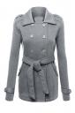 Womens Turndown Collar Double-breasted Sash Design Coat Gray