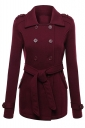 Womens Turndown Collar Double-breasted Sash Design Coat Ruby