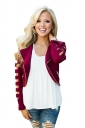 Womens Zip Up Cut-out Long Sleeve Plain Short Jacket Ruby