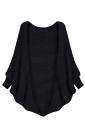 Womens Plain Batwing Long Sleeve Loose Cardigan Outwear Black