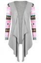 Womens Geometric Printed Sleeve Asymmetric Cardigan Blazer Pink