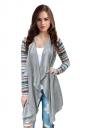 Womens Geometric Printed Sleeve Asymmetric Cardigan Blazer Turquoise