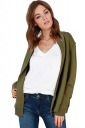 Womens Quilted Rhinestone Zip-up Long Sleeve Bomber Jacket Army Green