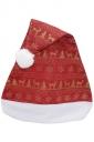 Womens Reindeer Patterned Christmas Pom Pom Beanie Red