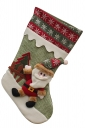 Womens Snowflake Applique Embroidered Christmas Stocking Green