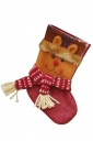 Womens Plaid Applique Embroidered Christmas Decoration Stocking Brown