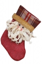 Womens Plaid Applique Embroidered Christmas Decoration Stocking White
