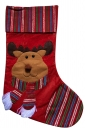 Womens Striped Reindeer Embroidered Christmas Stocking Red