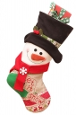 Womens Snowman Embroidered Christmas Decoration Stocking Black