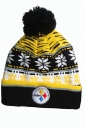 Womens Patterned Fur Pom Pom Ball Knitted Bonnie Hat Yellow