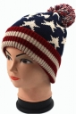 Womens Star Patterned Knitted Pom Pom Bonnie Hat Navy Blue