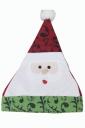 Womens Santa Claus Applique Christmas Pom Pom Bonnie Hat Green