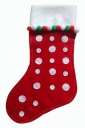 Womens Polka Dot Applique Christmas Decoration Stocking Red