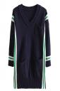 Womens V Neck Striped Pockets Long Sleeve Sweater Dress Navy Blue