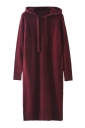 Womens Drawstring Hooded Long Sleeve Side Slit Sweater Dress Coffee