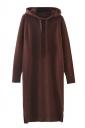 Womens Drawstring Hooded Long Sleeve Side Slit Sweater Dress Ruby