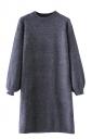 Womens Crewneck Puff Long Sleeve Plain Sweater Dress Navy Blue