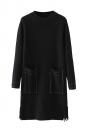 Womens Crewneck Pockets Sides Fringed Long Sleeve Sweater Dress Black