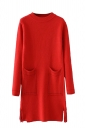 Womens Crewneck Pockets Sides Fringed Long Sleeve Sweater Dress Red