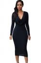 Womens V Neck Plain Draped Long Sleeve Midi Dress Black