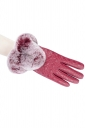 Womens Lined Quilted Leather Winter Gloves Pink
