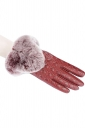 Womens Lined Quilted Leather Winter Gloves Red