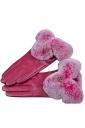 Womens Rabbit Hair Warm Leather Winter Gloves Pink