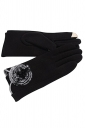Womens Fur Ball Decor Plain Warm Velvet Gloves Black