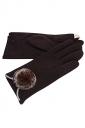 Womens Fur Ball Decor Plain Warm Velvet Gloves Brown