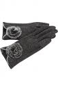 Womens Fur Ball Decor Plain Warm Velvet Gloves Gray