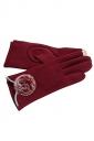 Womens Fur Ball Decor Plain Warm Velvet Gloves Red