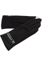 Womens Faux Suede Lace Trim Lined Winter Gloves Black