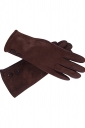 Womens Faux Suede Two-button Decor Winter Gloves Brown