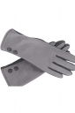 Womens Faux Suede Two-button Decor Winter Gloves Gray
