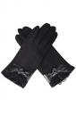 Womens Cashmere Lace Bow Decor Winter Warm Gloves Black
