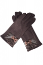 Womens Cashmere Lace Bow Decor Winter Warm Gloves Coffee