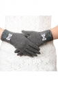 Womens Cashmere Lace Bow Decor Winter Warm Gloves Gray