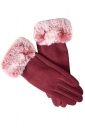 Womens Faux Fur Winter Warm Cashmere Gloves Red